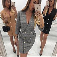 Элегантное платье-пиджак с пуговицами sh-023 (42-50р, разные цвета)
