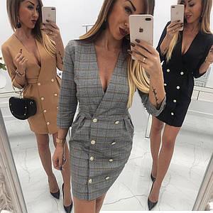 Элегантное платье-пиджак с пуговицами /разные цвета, 42-50р, sh-023/