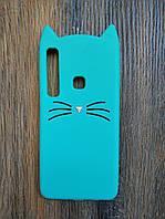 Объемный 3d силиконовый чехол для Samsung A9 2018 A920 Усатый кот зеленый
