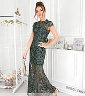 / Размер 42,44,46,48 / Женское потрясающий вечернее платье 41217-Зеленый