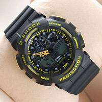 Часы наручные Casio G-Shock GA-100 Black-Yellow-Black (Реплика А)