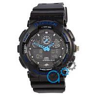 Часы наручные Casio G-Shock GA-100 Black-Blue (Реплика А)