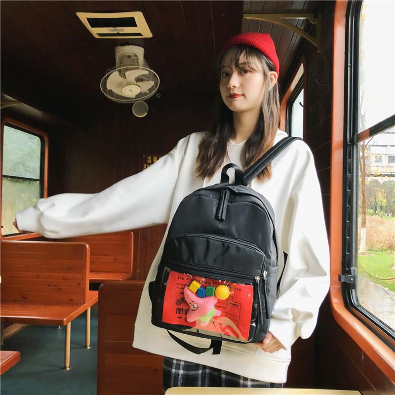 Нейлоновый рюкзак с прозрачным карманом