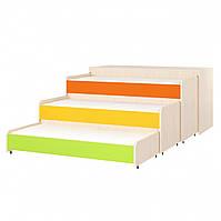 Кровать детская 3-х ярусная выкатная с крышкой. W49