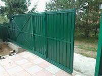 Откатные ворота из профнастила с одной стороны 3500х2000