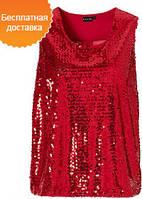 Эксклюзивная шифоновая красная блузка украшенная паетками BODY FLIRT