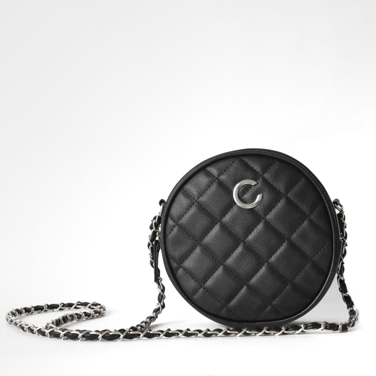 4d082b0b5c28 Стеганая маленькая круглая сумочка черного цвета опт купить по ...