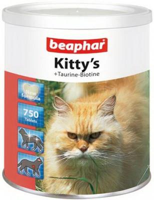 Витаминизированное лакомство для кошек BEAPHAR Kitty's+ Taurine + Biotine с биотином и таурином 750 таблеток