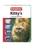 Витаминизированное лакомство для кошек BEAPHAR Kitty's+ Taurine + Biotine с биотином и таурином 75 таблеток