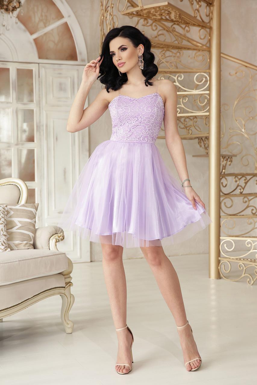 Нарядное вечернее платье сиреневое выпускное