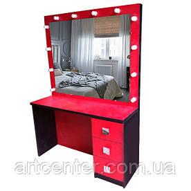 Рабочее место парикмахера, визажиста красно-черный однотумбовый с зеркалом