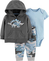 Комплект тройка для мальчика Carters 12М рост 72-78 см набор Дино Картерс хлопок камуфляж