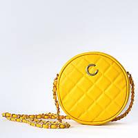 Желтая круглая сумочка из стеганой экокожи, фото 1
