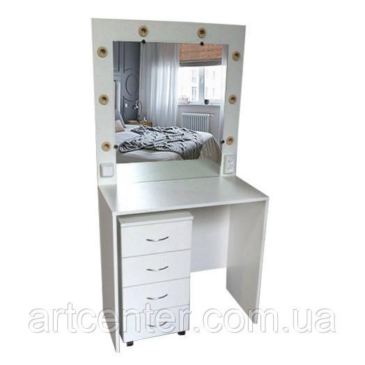 Стол для визажиста белый с тумбой и зеркалом