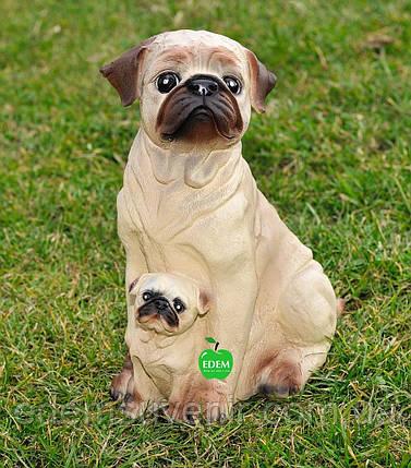 Садовая фигура собаки Мопсы, фото 2