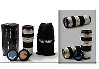 Термочашка в форме объектива Caniam (Canon) EF 70-200 с чехлом Белая, Термочашка в формі об'єктива Caniam (Canon) EF 70-200 з чохлом Біла,