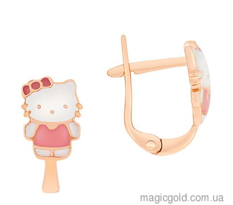 Золоті дитячі сережки Кітті