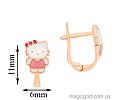 Золоті дитячі сережки Кітті, фото 2