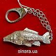 Рыбалка брелок серебряный - Подарок рыбаку серебро - Серебряная рыбка брелок - Брелок на ключи Карп серебряный, фото 2