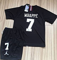 Детская футбольная форма ПСЖ Air Jordan Mbappe (Мбаппе) сезон 2018-2019 черная