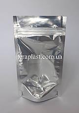 Дой-Пак 30г серебро+прозрачная сторона 85х140 с зип замком, фото 2