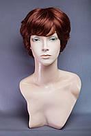 Натуральный парик №3,цвет каштан с яркой краснинкой