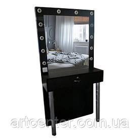 Визажный черный стол на хромированных ножках и зеркалом с подсветкой