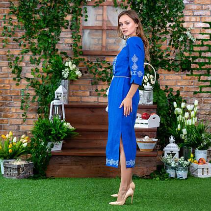 Платье вышитое платье Марьяна васильковое, фото 2