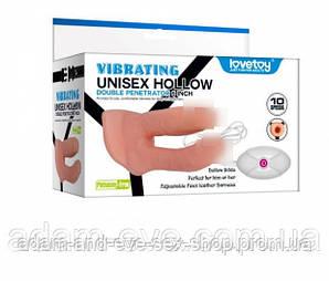 Двойной полый мужской страпон с вибрацией  Unisex Hollow Strap On