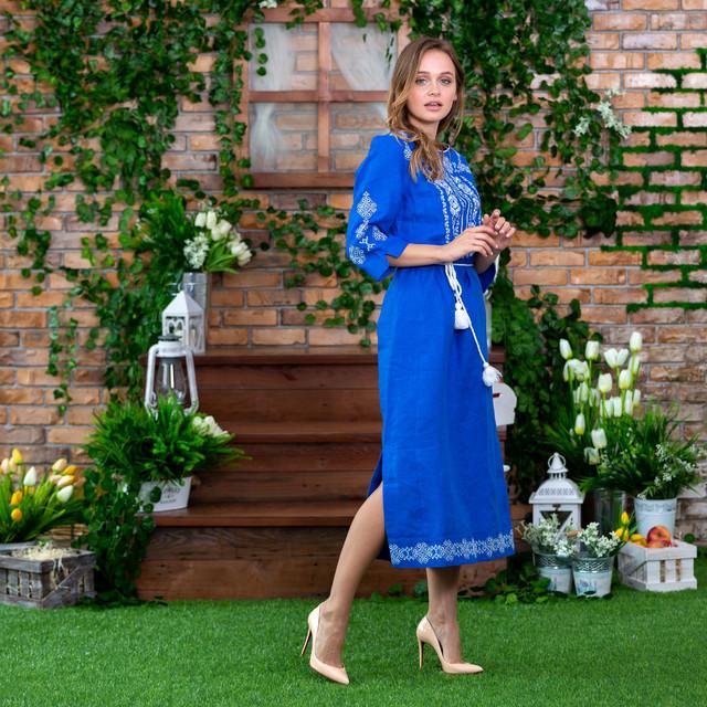 Платье вышитое платье Марьяна васильковое