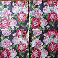 """Салфетка декупажная 33x33 см 4 """"Розы цветные на черном фоне"""""""