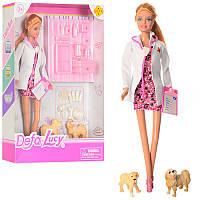 Кукла типа барби доктор ветеринар, чемодан, инструменты, собачки, серия кукл Дефа (Defa), 8346A