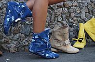 Джинсовые крутые женские текстильные ботиночки с бантиком и вышивкой. Арт-0108, фото 1