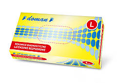 Рукавички латексні, неопудрені DOMAN - 100 шт/уп, L