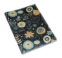 Кожаная обложка для прав -Бирюзовые цветы-