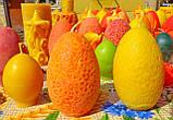 """Пасхальная восковая свеча """"Яйцо с кружевами цветное"""" из пчелиного воска, фото 3"""