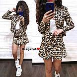 Женский стильный джинсовый костюм: пиджак и юбка-трапеция с леопардовым принтом (расцветки), фото 3