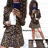 Женский стильный джинсовый костюм: пиджак и юбка-трапеция с леопардовым принтом (расцветки), фото 2