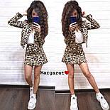Женский стильный джинсовый костюм: пиджак и юбка-трапеция с леопардовым принтом (расцветки), фото 5