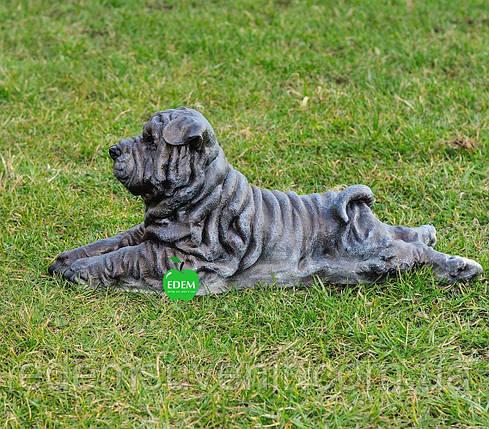 Садовая фигура собака Шарпей лежачий, фото 2