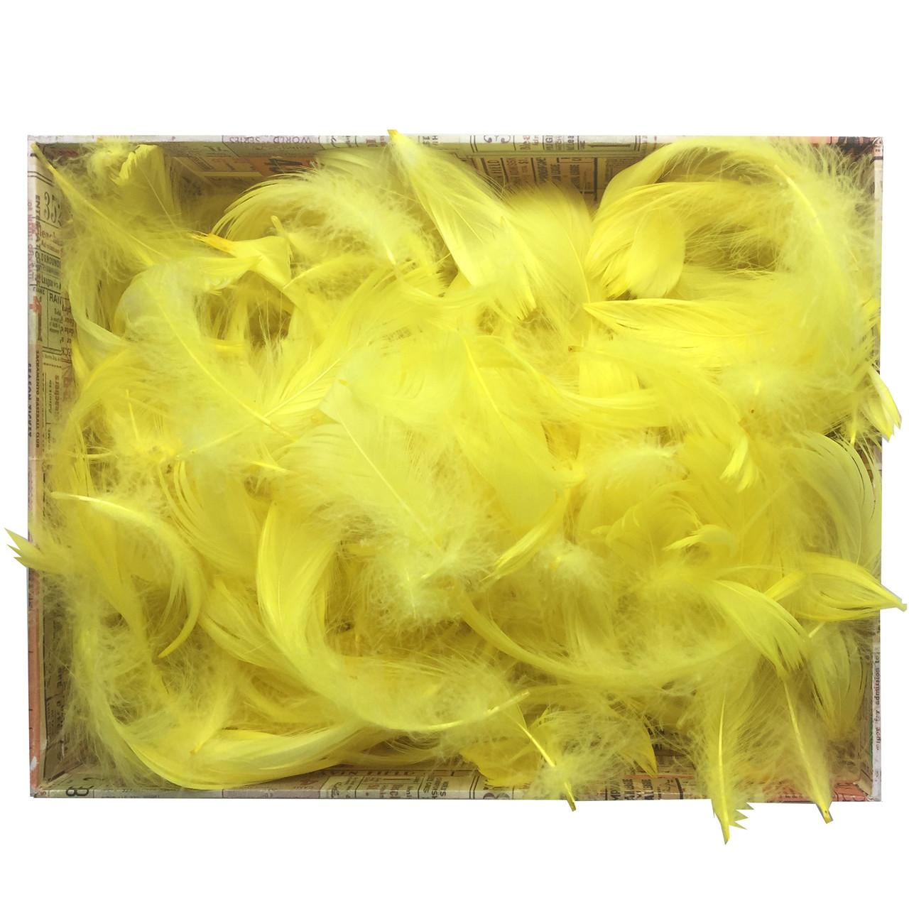 Перья натуральные для декора желтые