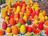 """Пасхальная восковая свеча """"Яйцо с кружевами цветное"""" из пчелиного воска, фото 4"""