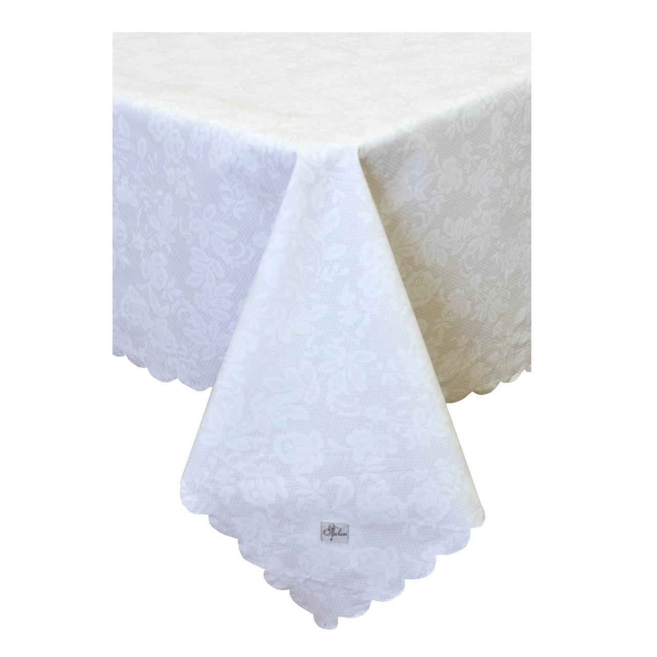 Скатерть с акриловым покрытием Кружево на белом