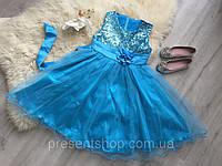 Платье бальное в пайетках и цветком на пояске 130, фото 1