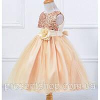 Платье бальное в пайетках, с цветком на пояске 120, фото 1