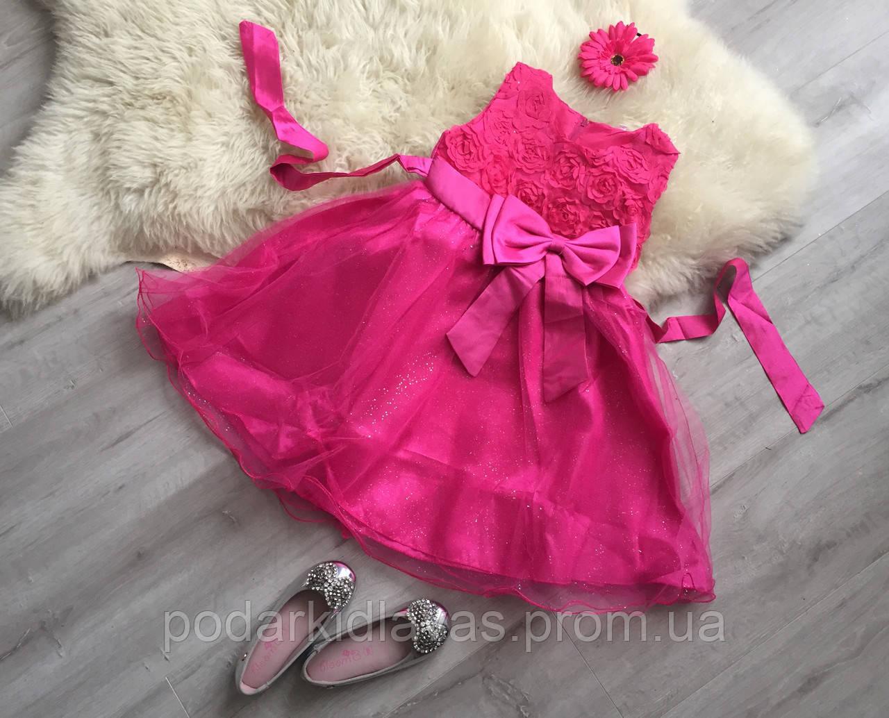 Малиновое платье с блестящей фатиновой юбкой и бантом, 130