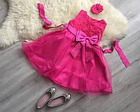 Малиновое платье с блестящей фатиновой юбкой и бантом, 130, фото 1