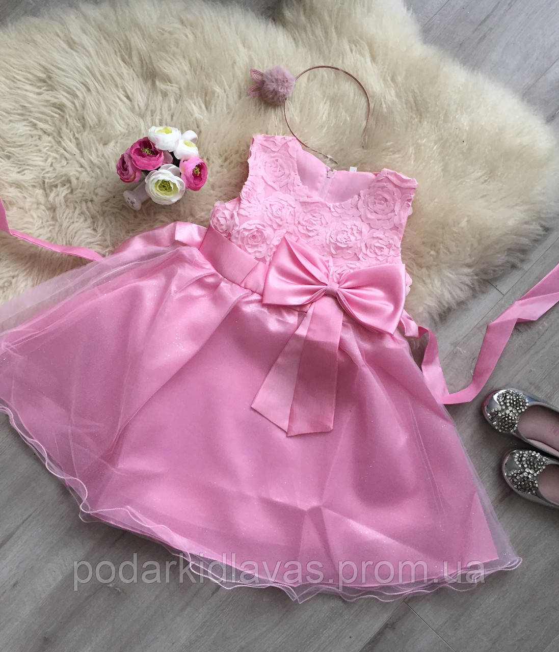 Платье нарядное для девочки с фатиновой юбкой и бантом, 120