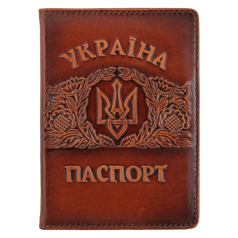 """Обложка на паспорт кожаная с объемным тиснением """"Украина"""" (ОП-1)"""