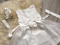 Платье Белое  с блестящее   фатиновой юбкой и бантом, 120, фото 1